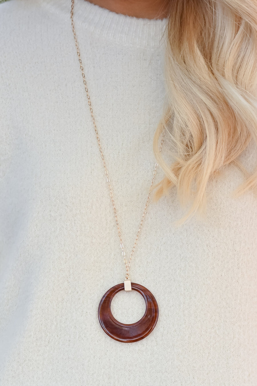 Forever Pendant Necklace - Hazel womens trendy long circle pendant necklace closet candy front 3