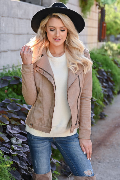 Lead Me Here Vegan Suede Jacket - Latte womens trendy long sleeve stud detail fall jacket closet candy front