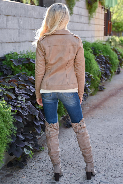 Lead Me Here Vegan Suede Jacket - Latte womens trendy long sleeve stud detail fall jacket closet candy back
