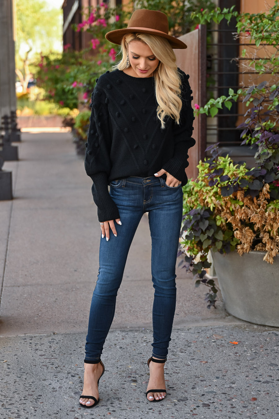 This Is Everything Sweater - Black womens trendy long sleeve pom detail round neck sweater closet candy front