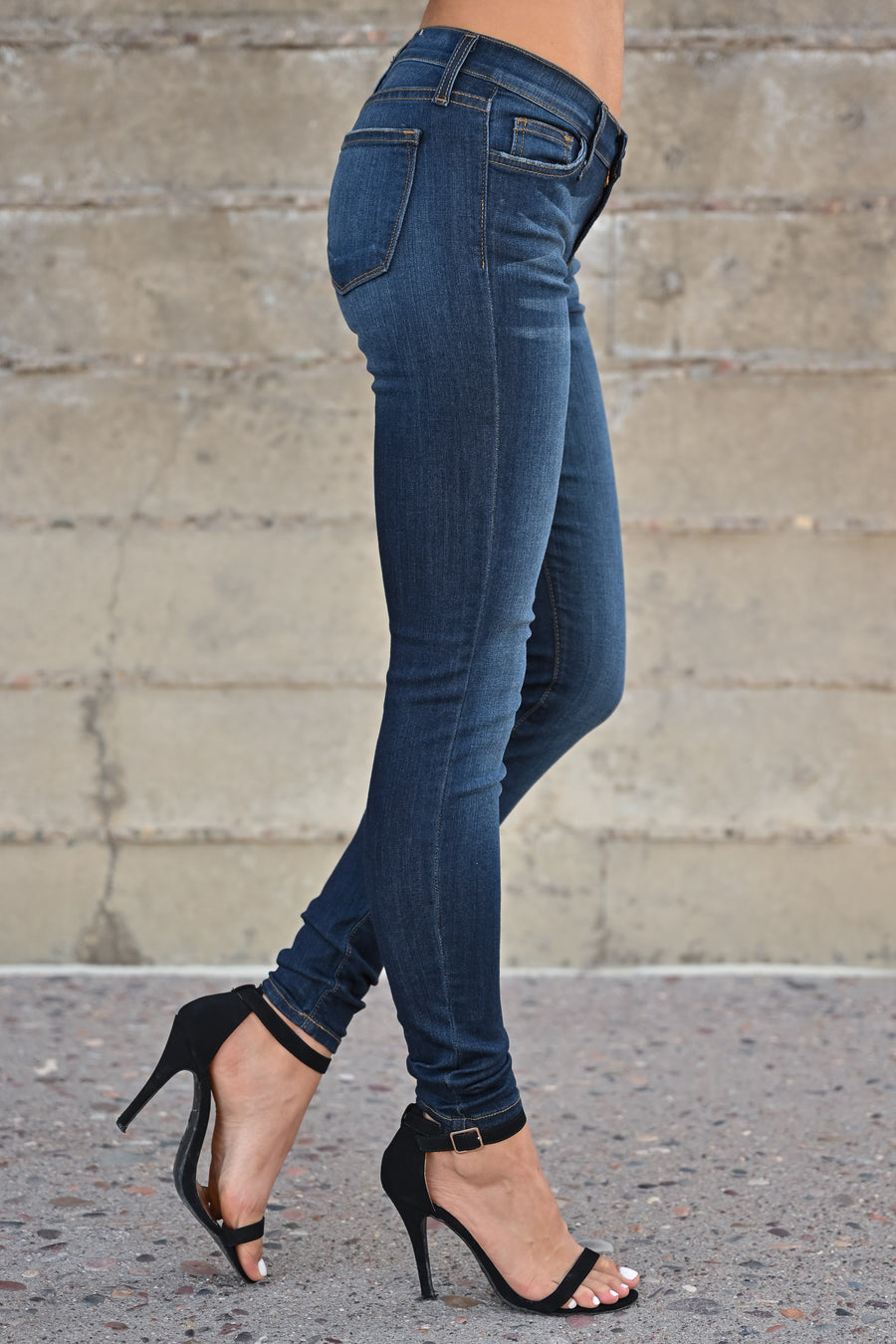 JUDY BLUE Mel Skinny Jeans - Dark Wash womens trendy non-distressed classic stretchy skinny jeans closet candy front