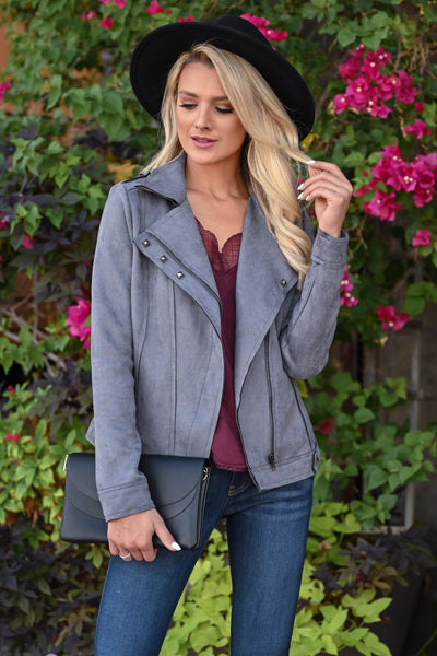 Lead Me Here Vegan Suede Jacket - Grey womens trendy long sleeve stud detail jacket closet candy front