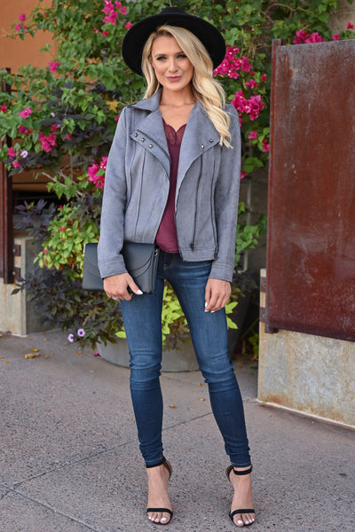 Lead Me Here Vegan Suede Jacket - Grey womens trendy long sleeve stud detail jacket closet candy front 2