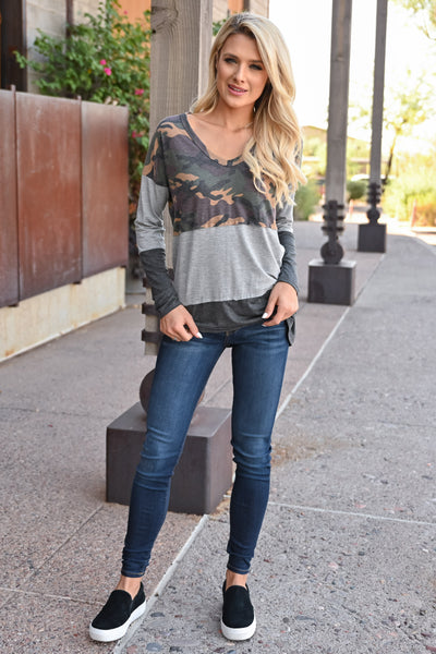 Weekend Trips Color Block Top - Camo womens trendy long sleeve camo color block top closet candy front 2
