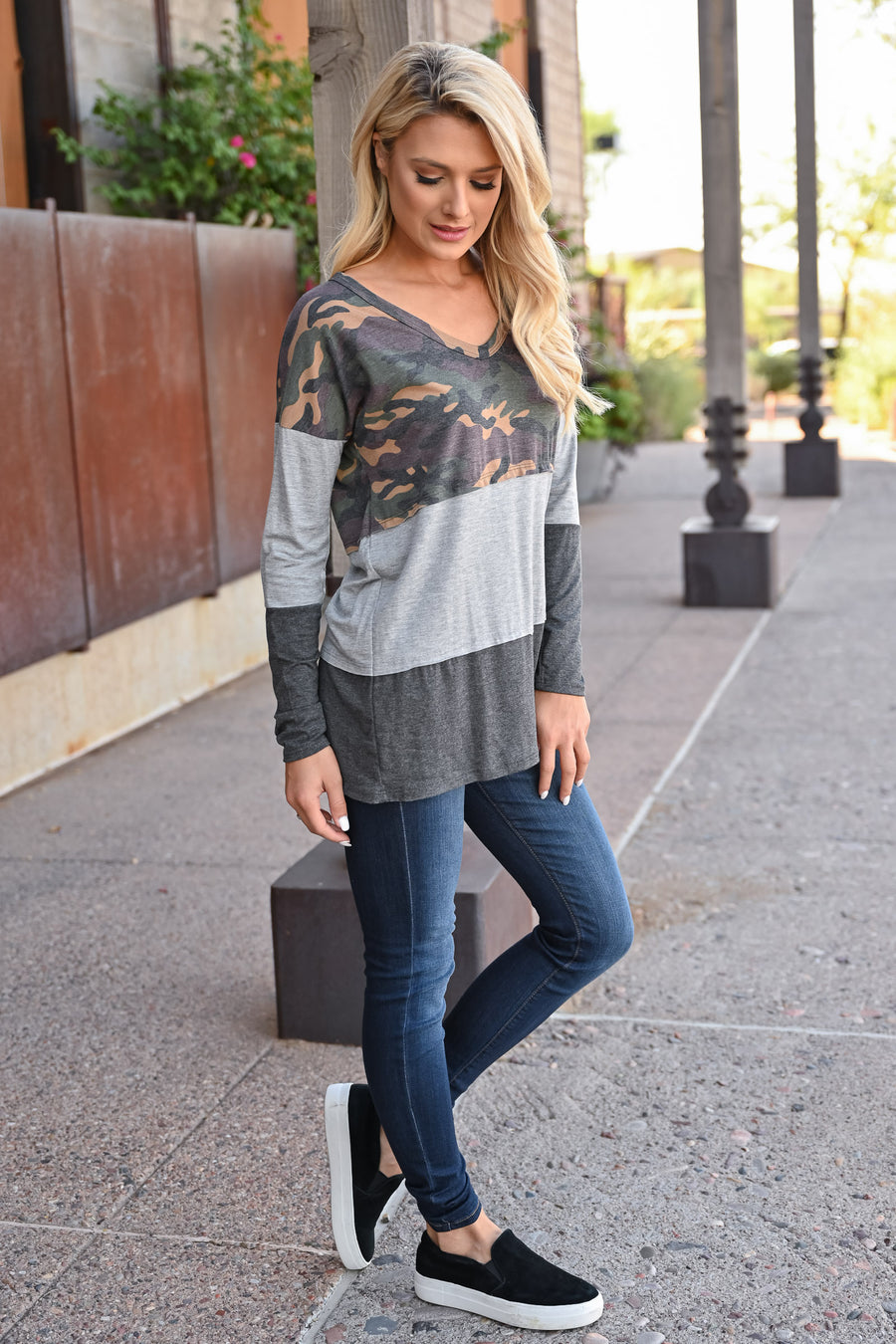 Weekend Trips Color Block Top - Camo womens trendy long sleeve camo color block top closet candy front