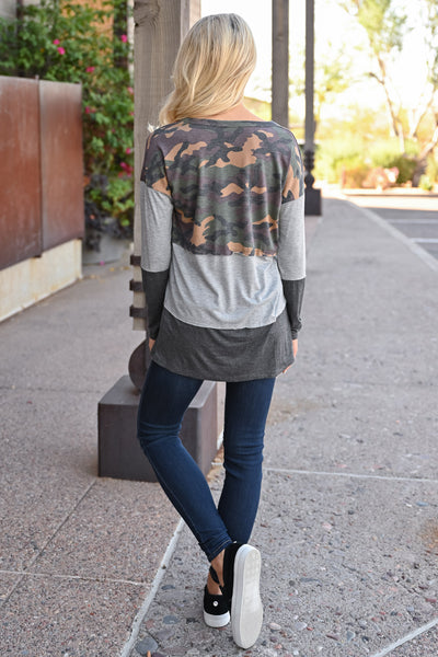 Weekend Trips Color Block Top - Camo womens trendy long sleeve camo color block top closet candy back