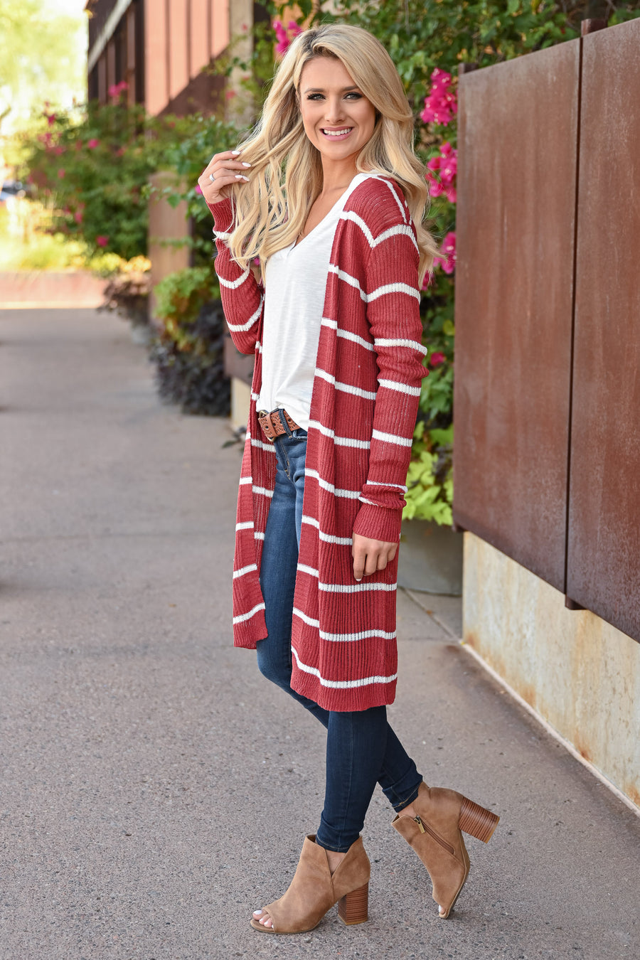 Dressed to Chill Cardigan - Rust womens trendy long sleeve knit duster cardigan long sleeves closet candy front