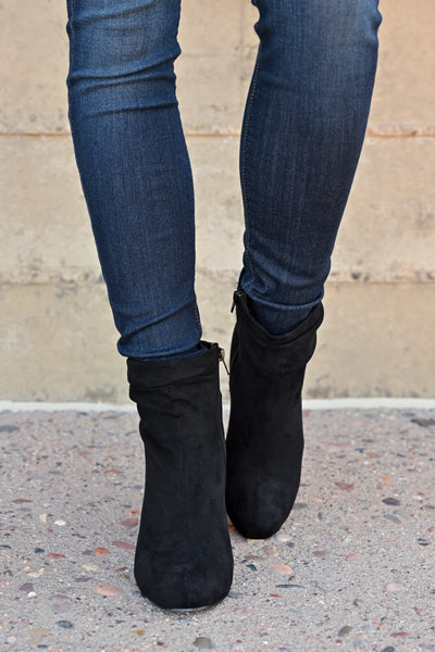 Annie Slouchy Ankle Booties - Black womens trendy vegan suede chunky heel ankle bootie closet candy front