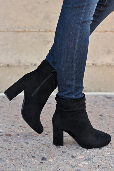 Annie Slouchy Ankle Booties - Black womens trendy vegan suede chunky heel ankle bootie closet candy side 2