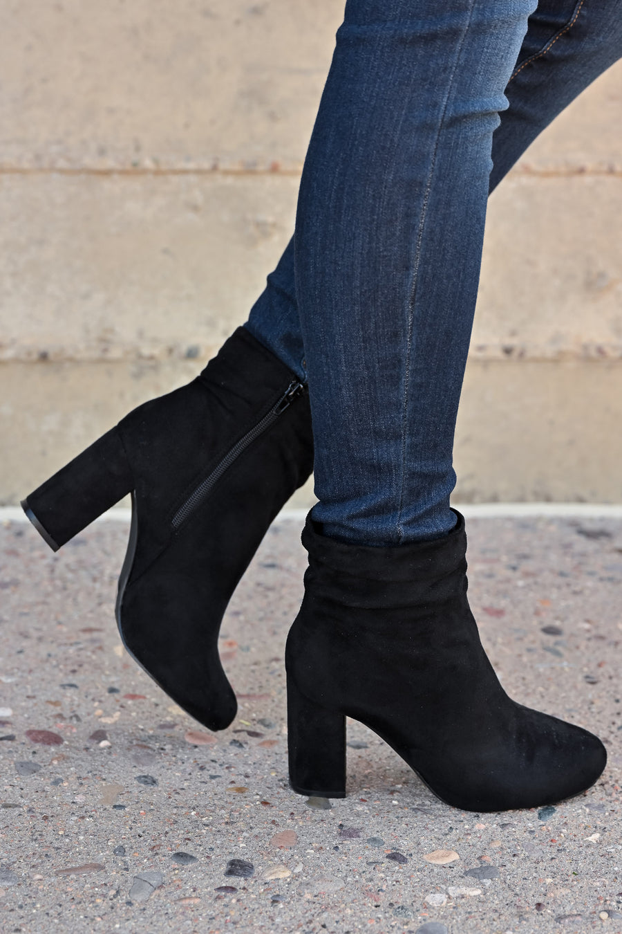 Annie Slouchy Ankle Booties - Black womens trendy vegan suede chunky heel ankle bootie closet candy side