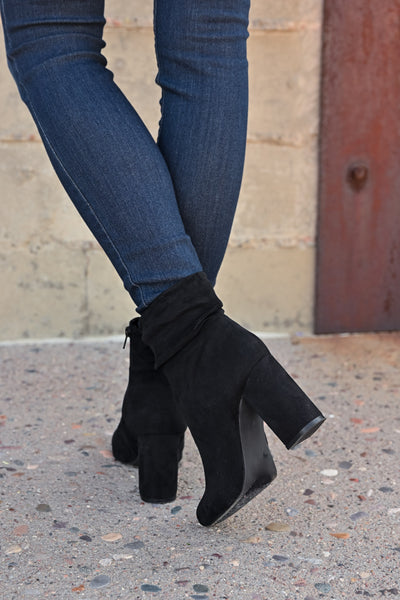 Annie Slouchy Ankle Booties - Black womens trendy vegan suede chunky heel ankle bootie closet candy back