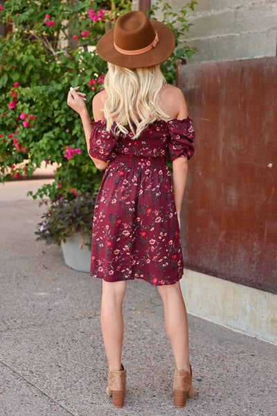 Light Up The Room Floral Dress - Wine womens trendy off the shoulder 3/4 sleeve woven floral dress closet candy back