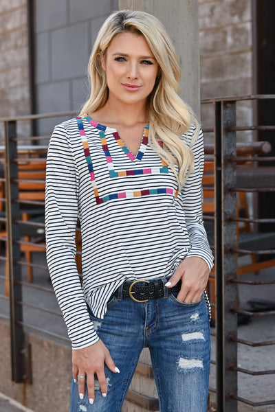 Carefree Striped Top - Ivory womens trendy long sleeve striped embroidered detail top closet candy front