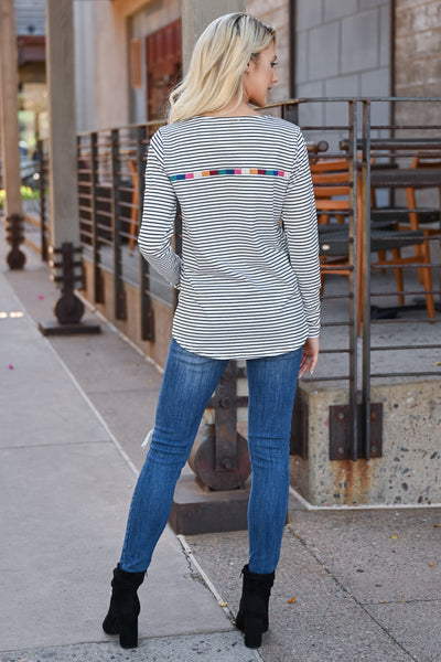 Carefree Striped Top - Ivory womens trendy long sleeve striped embroidered detail top closet candy back