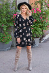 EVERLY With You Floral Wrap Dress - Black womens trendy long sleeve self-tie waist floral print dress closet candy front