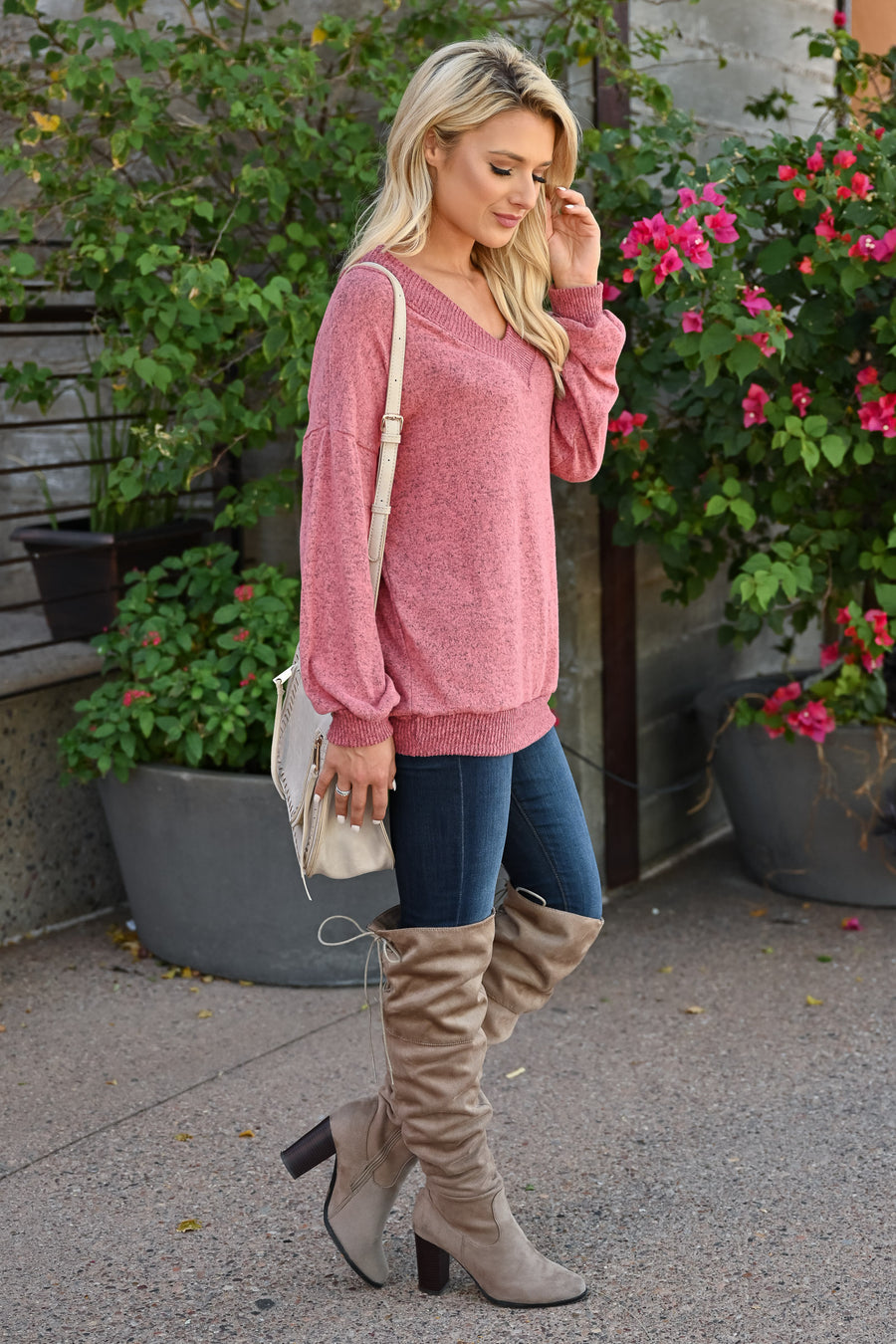 Relaxing Long Sleeve Top - Heather Rose womens trendy long sleeve slouchy ribbed trim top closet candy front