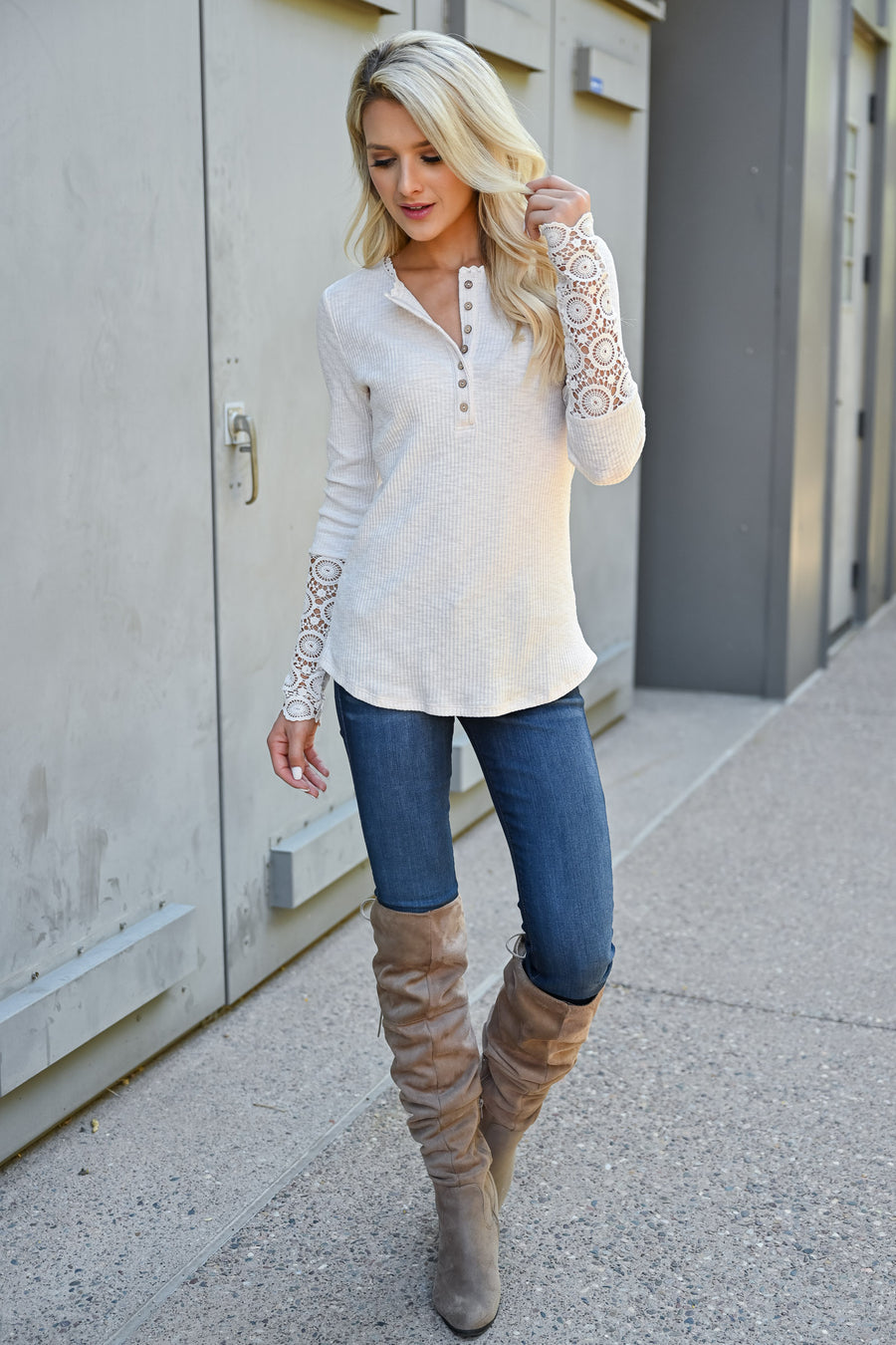 Nashville Nights Ribbed Knit Top - Oatmeal womens trendy long sleeve crochet detail button front top closet candy front