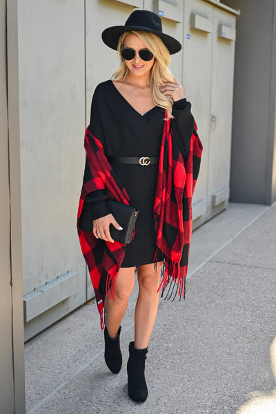 Date in the Mountains Buffalo Plaid Poncho - Red & Black womens trendy oversized fringe trim poncho closet candy front