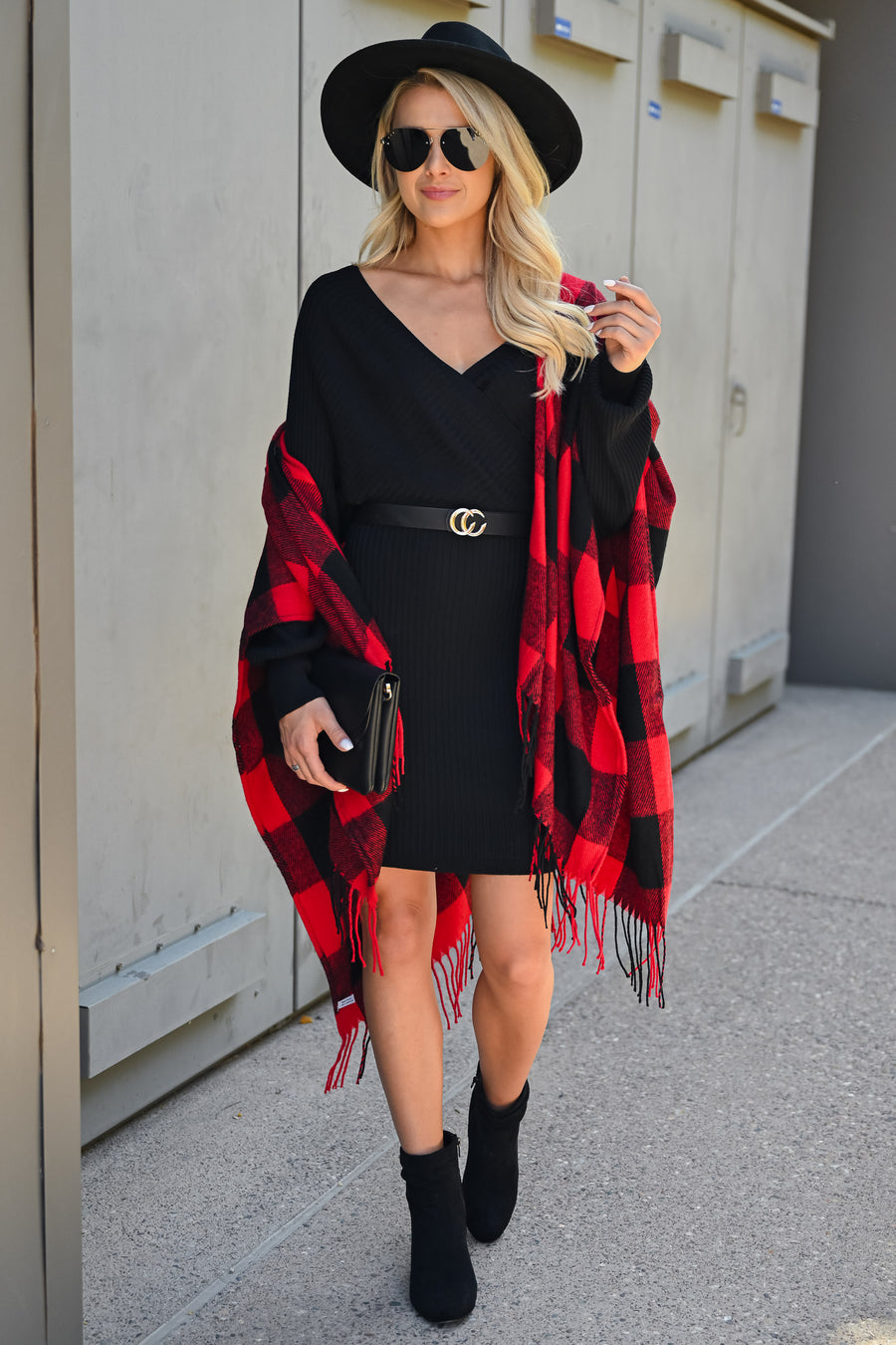 Best Day Ever Sweater Dress - Black womens trendy tie waist fitted ribbed sweater dress closet candy front