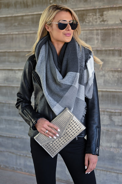 Lily Studded Clutch - Pewter womens trendy studded clutch closet candy outfit