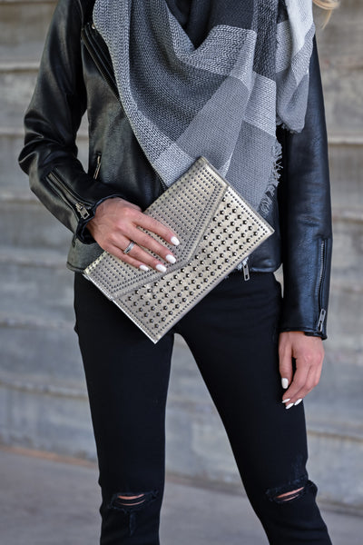 Lily Studded Clutch - Pewter womens trendy studded clutch closet candy front 2