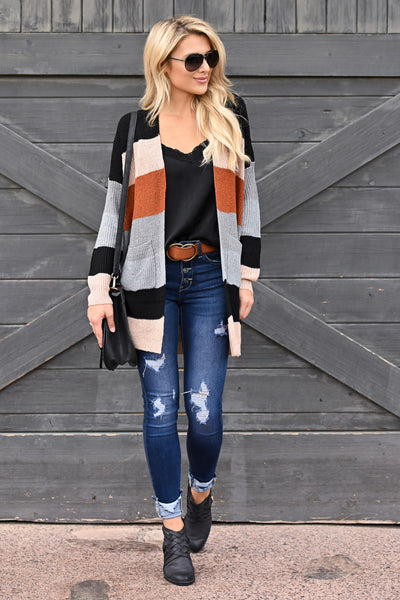 Pumpkin Spice Perfect Cardigan - Multi colorful vibrant colorblock cardigan, fall outfit, closet candy boutique 1