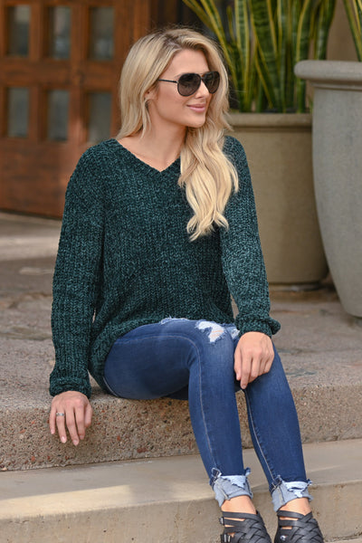 My Sweetheart Sweater - Emerald women's velvet soft knit v-neck fall sweater, closet candy boutique 1