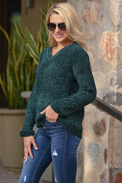 My Sweetheart Sweater - Emerald women's velvet soft knit v-neck fall sweater, closet candy boutique 4