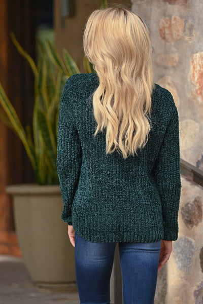 My Sweetheart Sweater - Emerald women's velvet soft knit v-neck fall sweater, closet candy boutique 5