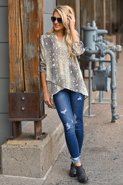 Come Hither Snake Print Top - Light Mocha snake print, v-neck, hi-low top, closet candy boutique 4