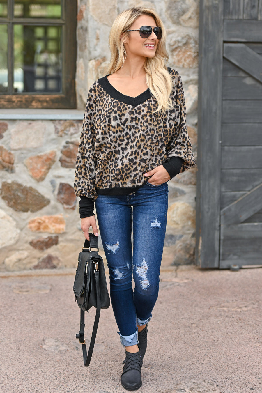 Purrfectly Sweet Leopard Sweater animal print off the shoulder v-neck sweater, closet candy boutique 1