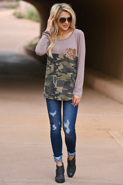New Goals Same Glam Camo Top - Cocoa & camo print long sleeve with gold sequin chest pocket, closet candy boutique 3