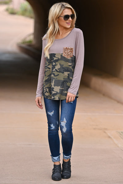 New Goals Same Glam Camo Top - Cocoa & camo print long sleeve with gold sequin chest pocket, closet candy boutique 1