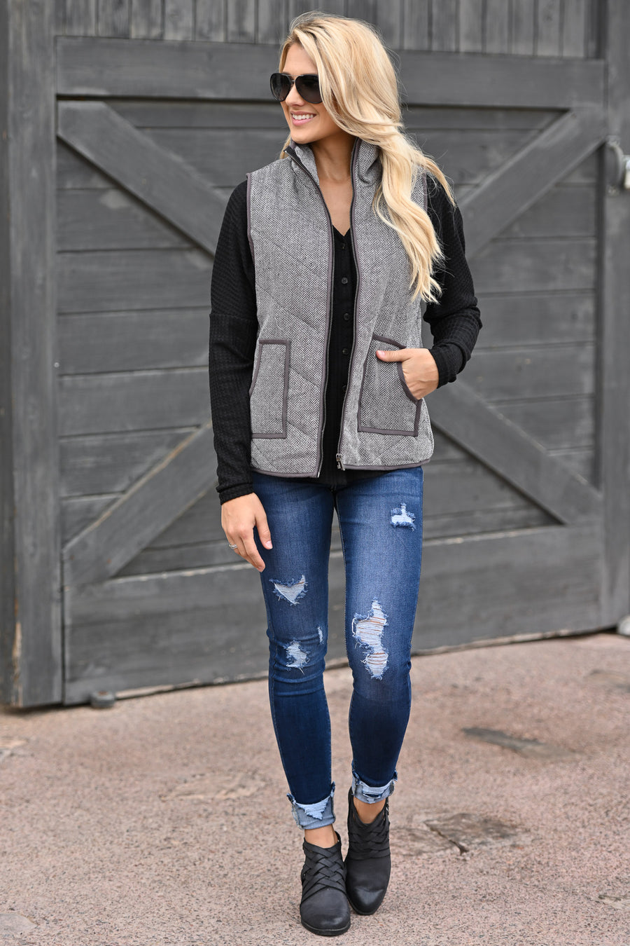 Take A Hike Vest - Charcoal high neck vest with pockets, closet candy boutique 1