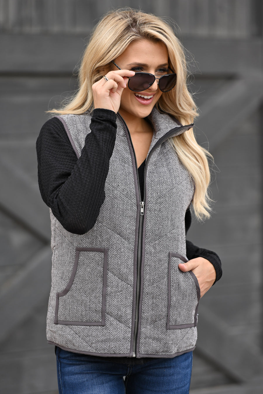 Take A Hike Vest - Charcoal high neck vest with pockets, closet candy boutique 2