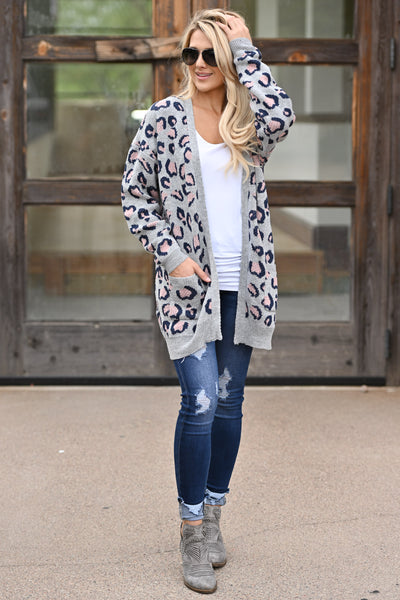 It Comes Naturally Leopard Cardigan - Grey sweater with navy and pink leopard print closet candy boutique 1