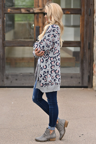 It Comes Naturally Leopard Cardigan - Grey sweater with navy and pink leopard print closet candy boutique 3