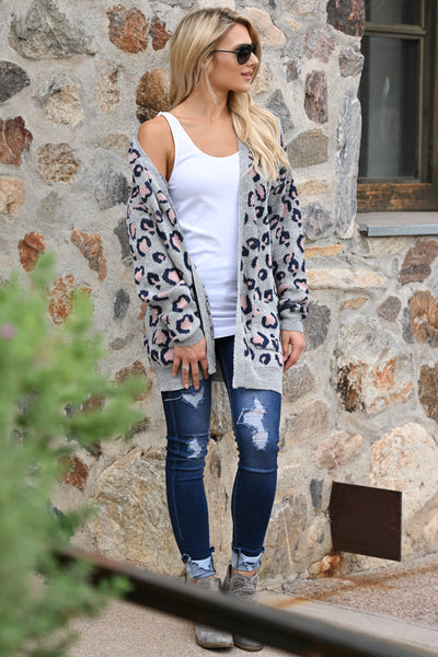 It Comes Naturally Leopard Cardigan - Grey sweater with navy and pink leopard print closet candy boutique 5