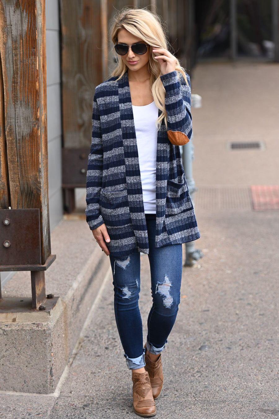 Chill In The Air Striped Cardigan - Navy multi stripe sweater with elbow patches, closet candy boutique 1