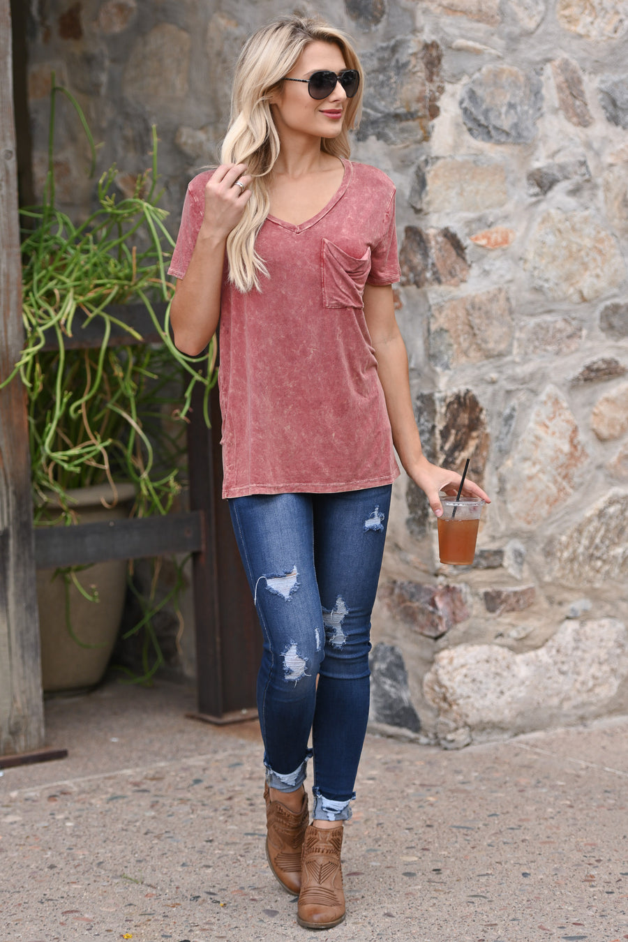 Flying Solo Pocket Tee - Rust v-neck pocket top, cute outfit, Closet Candy Boutique 1