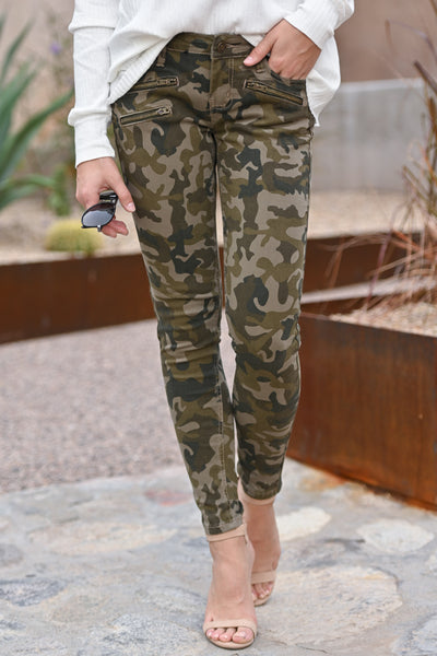 Color Me Camo Jeans - Olive camo print skinny jeans with zipper pockets, closet candy boutique 1