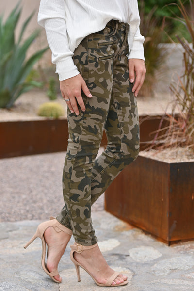 Color Me Camo Jeans - Olive camo print skinny jeans with zipper pockets, closet candy boutique 3