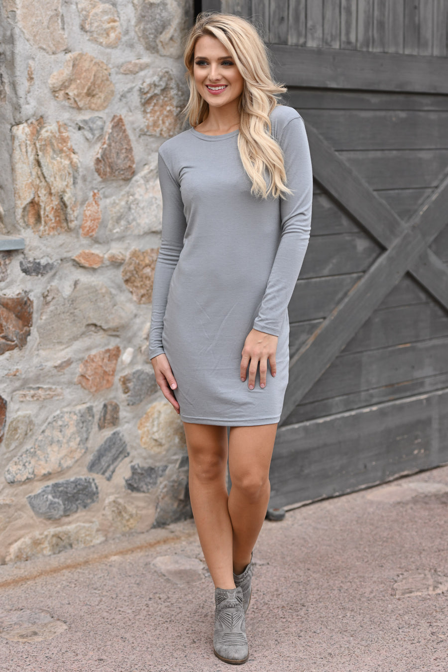 PIKO Dreams Are Forever Dress - Grey women's long sleeve dress, fall outfit, Closet Candy Boutique 1