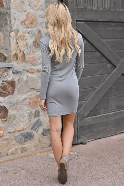 PIKO Dreams Are Forever Dress - Grey women's long sleeve dress, fall outfit, Closet Candy Boutique 3