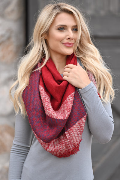 Fab In Plaid Blanket Scarf - Red & Navy plaid wrap scarf perfect for fall closet candy boutique 1