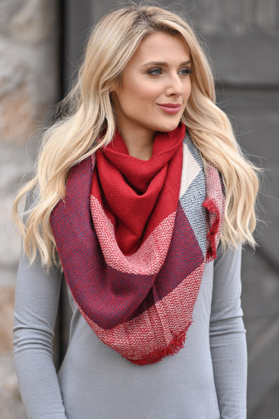 Fab In Plaid Blanket Scarf - Red & Navy plaid wrap scarf perfect for fall closet candy boutique 3