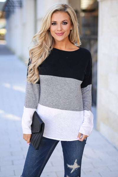 Relaxing In Style Color Block Top - Black, grey, and white colorblock long sleeve, closet candy boutique 2