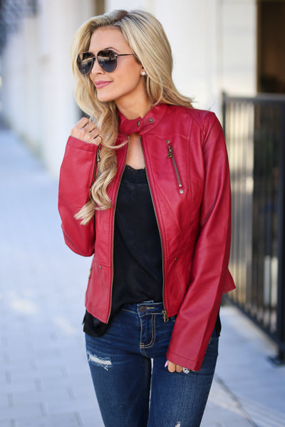 Ready For Take Off Jacket - Wine women's leather jacket, zipper, pockets, Closet Candy Boutique 2
