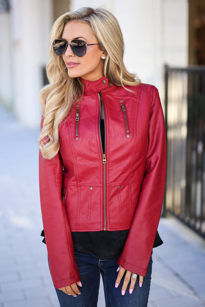 Ready For Take Off Jacket - Wine women's leather jacket, zipper, pockets, Closet Candy Boutique 6