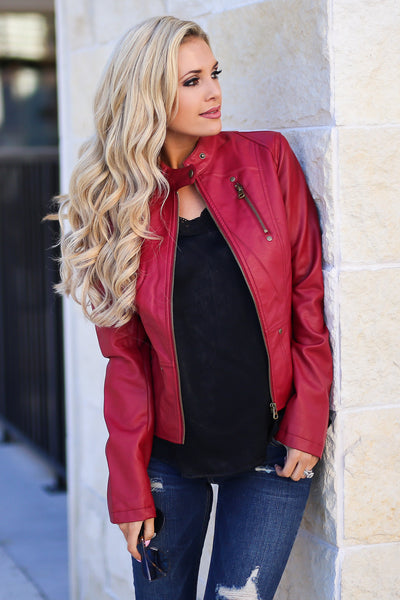Ready For Take Off Jacket - Wine women's leather jacket, zipper, pockets, Closet Candy Boutique 7